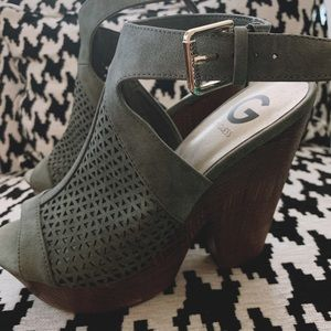 G By GUESS Olive Green Wedges